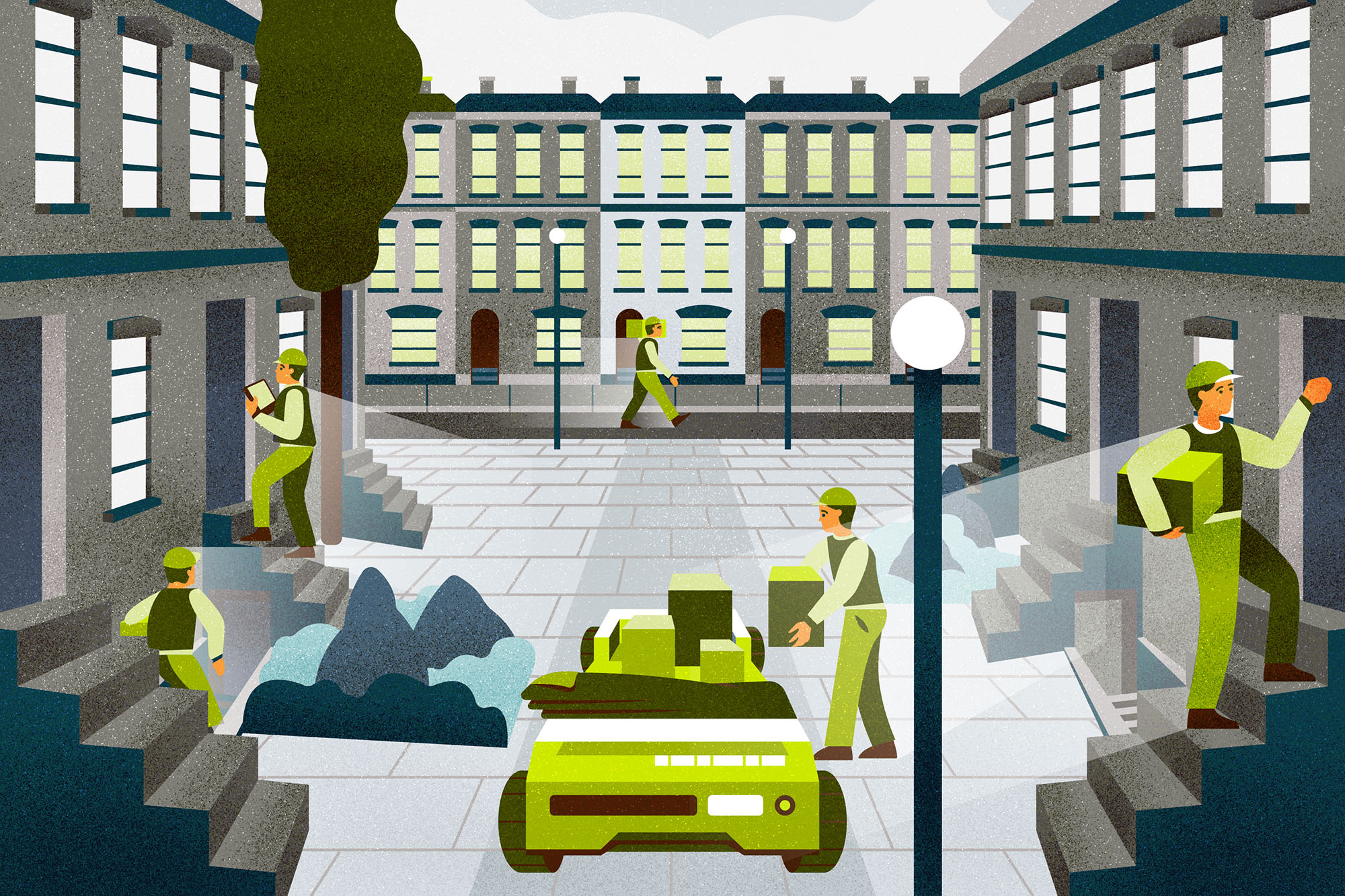 Now, every block has a porter licensed by the city. Sally's porter meets larger 'conveyor' bots at the curb, takes her returns, and even recycles packaging. In the rare instance when dispatch algorithms send something when she isn't there, the porter can hold items for redelivery when she returns.