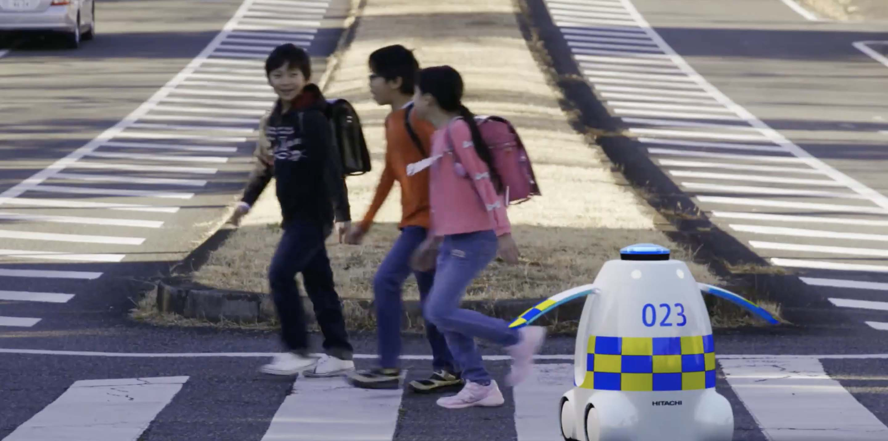 With an interest in social impact and public safety, Hitachi is exploring the benefits of having robots act as urban ushers. (Image: Hitachi)